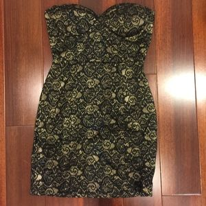 Black Floral Strapless Mini Dress Size S